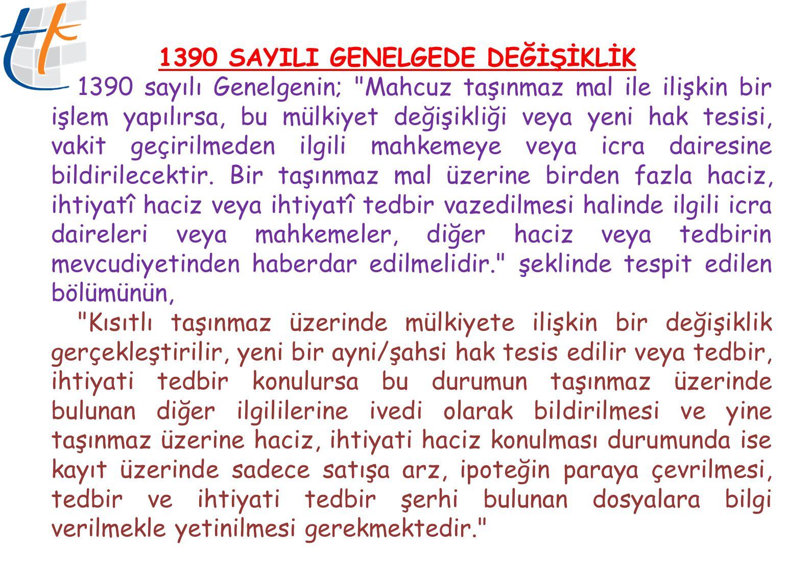 1390 SAYILI GENELGEDE DEĞİŞİKLİK