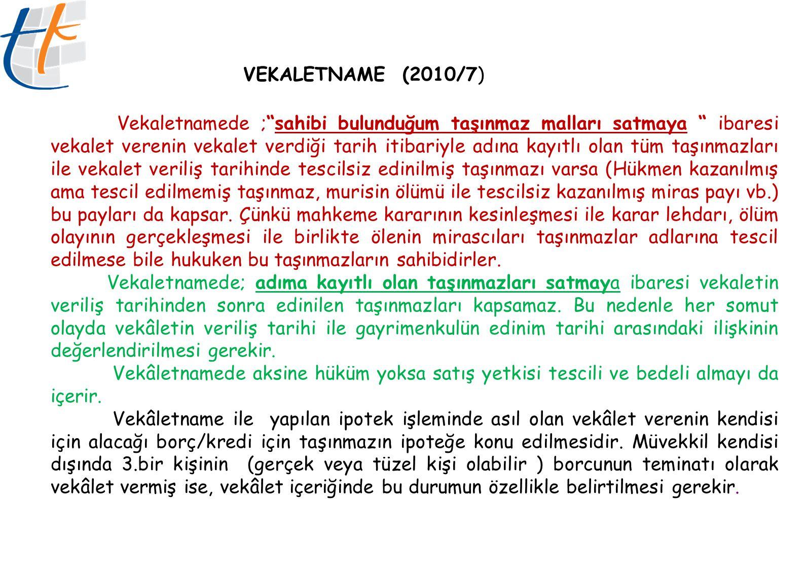 VEKALETNAME (2010/7)