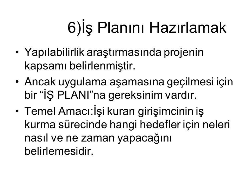 6)İş Planını Hazırlamak