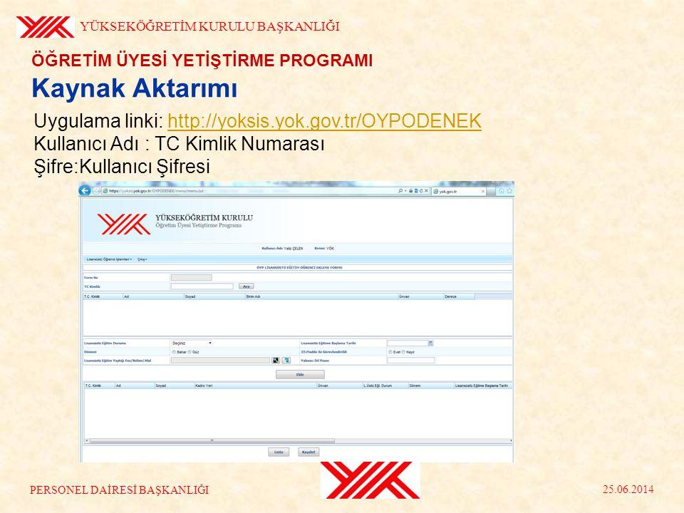 Kaynak Aktarımı Uygulama linki: http://yoksis.yok.gov.tr/OYPODENEK