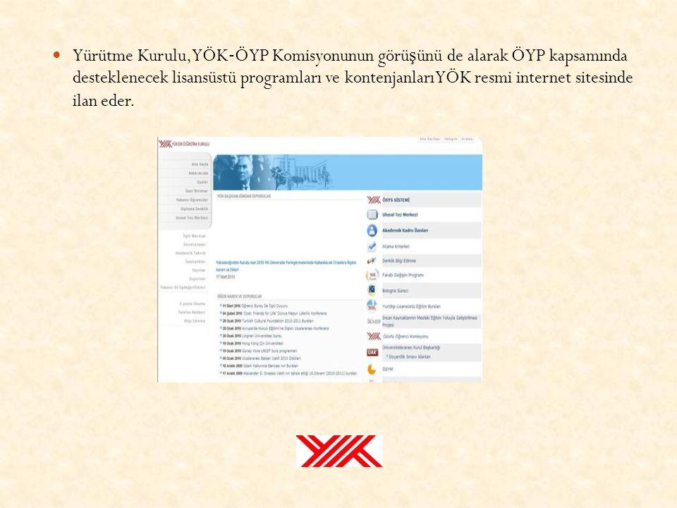 Yürütme Kurulu, YÖK‐ÖYP Komisyonunun görüşünü de alarak ÖYP kapsamında desteklenecek lisansüstü programları ve kontenjanları YÖK resmi internet sitesinde ilan eder.