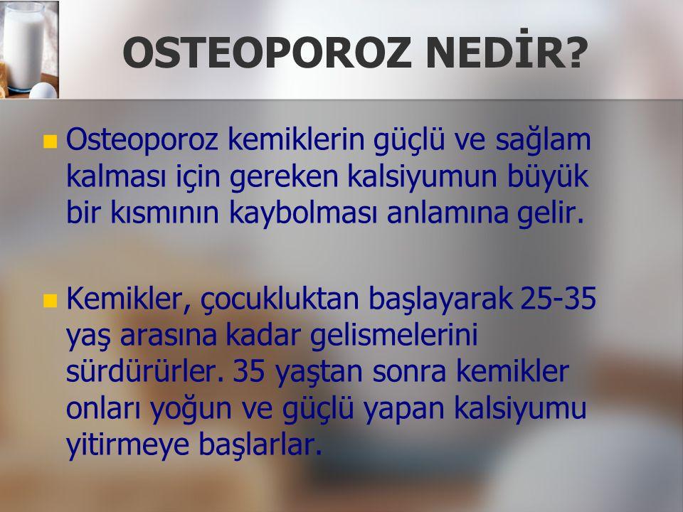 OSTEOPOROZ NEDİR Osteoporoz kemiklerin güçlü ve sağlam kalması için gereken kalsiyumun büyük bir kısmının kaybolması anlamına gelir.