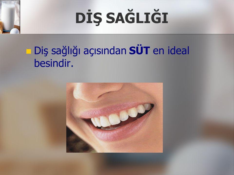 DİŞ SAĞLIĞI Diş sağlığı açısından SÜT en ideal besindir.