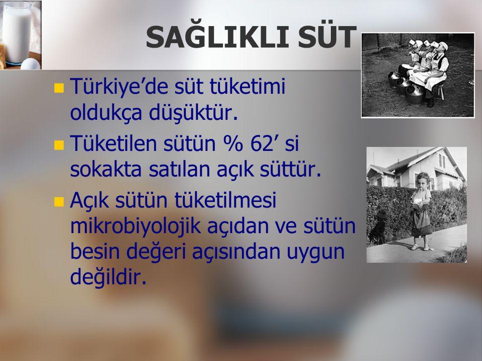 SAĞLIKLI SÜT Türkiye'de süt tüketimi oldukça düşüktür.