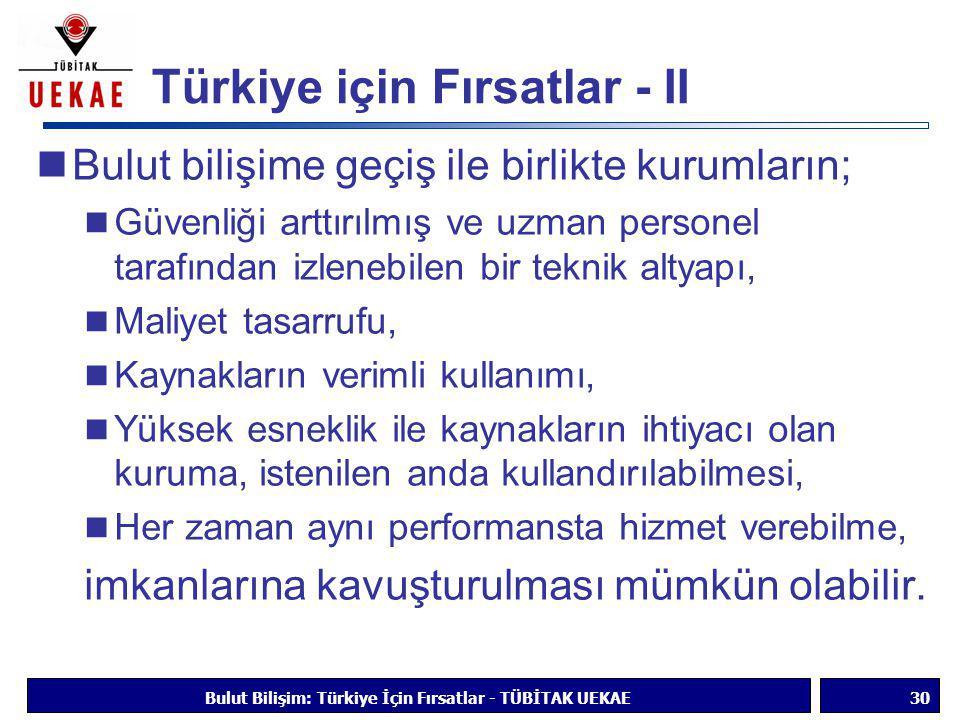 Türkiye için Fırsatlar - II