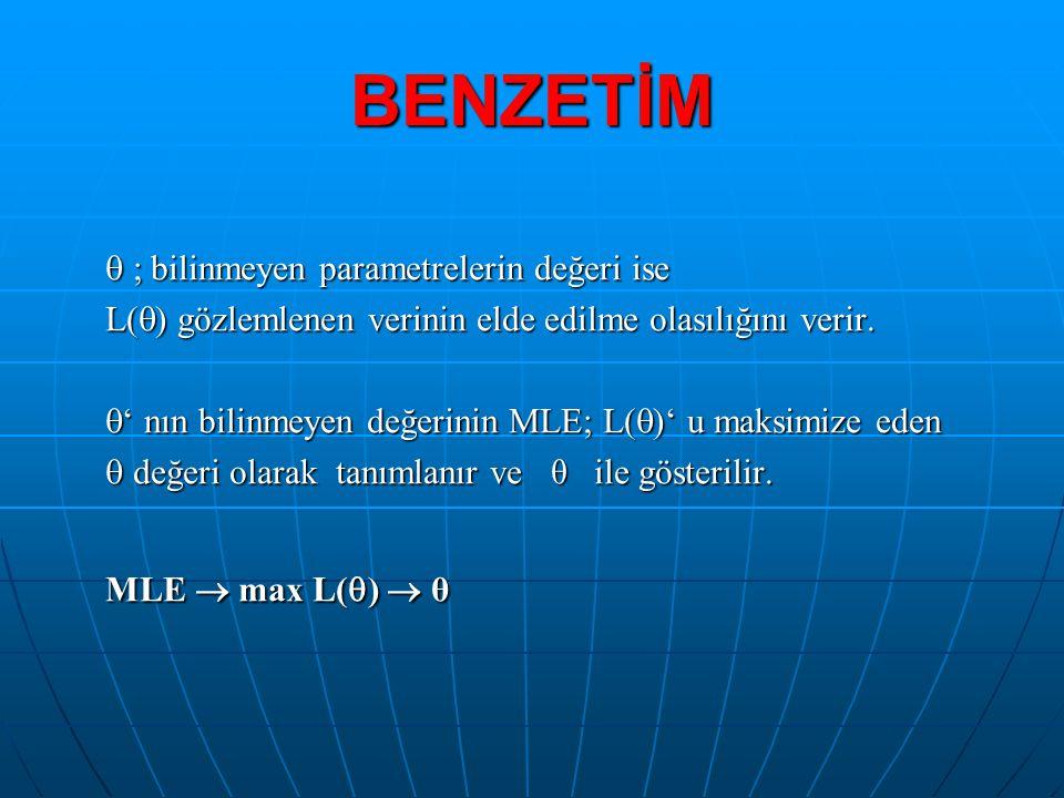 BENZETİM MLE  max L()  θ  ; bilinmeyen parametrelerin değeri ise