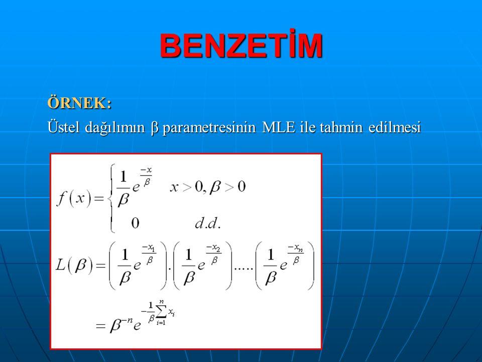 BENZETİM ÖRNEK: Üstel dağılımın β parametresinin MLE ile tahmin edilmesi