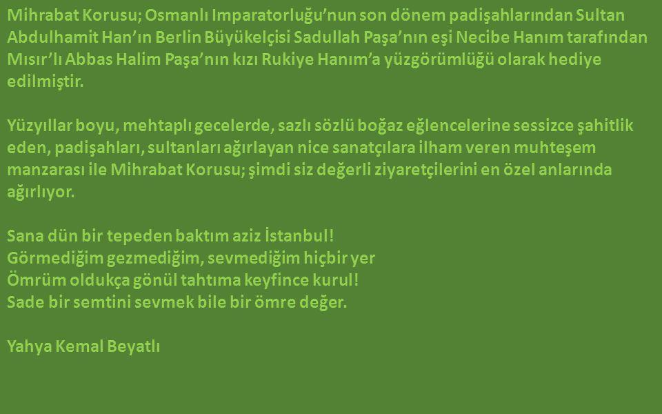 Mihrabat Korusu; Osmanlı Imparatorluğu'nun son dönem padişahlarından Sultan Abdulhamit Han'ın Berlin Büyükelçisi Sadullah Paşa'nın eşi Necibe Hanım tarafından Mısır'lı Abbas Halim Paşa'nın kızı Rukiye Hanım'a yüzgörümlüğü olarak hediye edilmiştir.