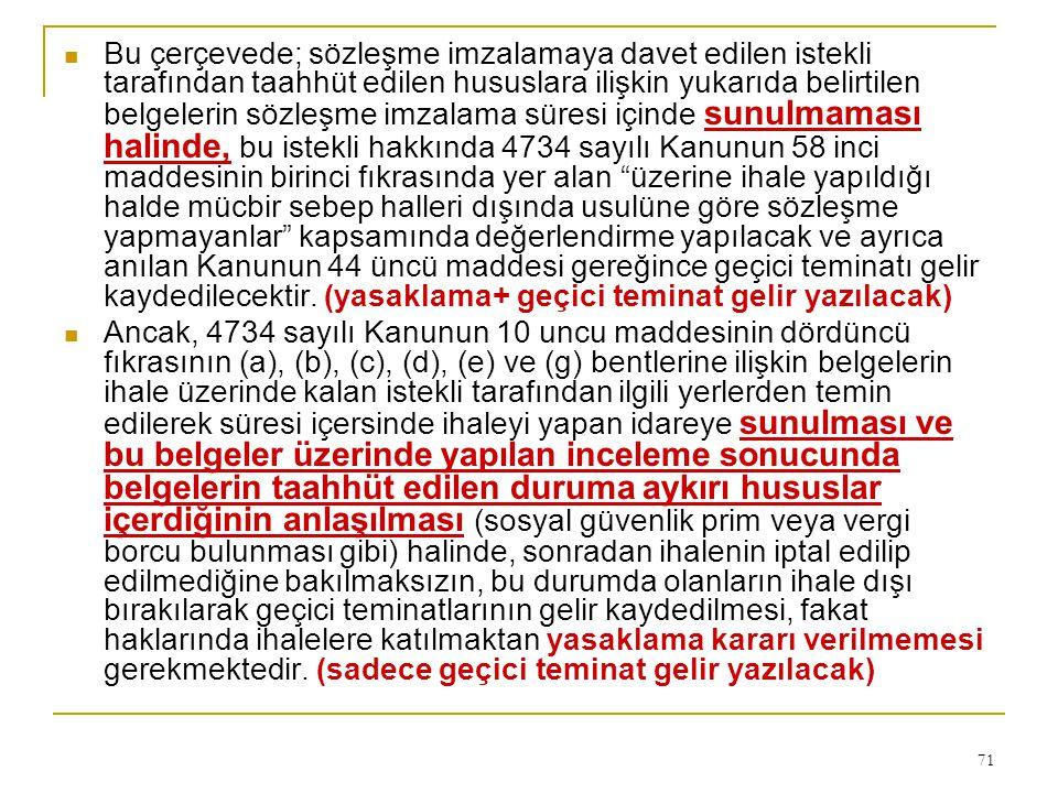 Bu çerçevede; sözleşme imzalamaya davet edilen istekli tarafından taahhüt edilen hususlara ilişkin yukarıda belirtilen belgelerin sözleşme imzalama süresi içinde sunulmaması halinde, bu istekli hakkında 4734 sayılı Kanunun 58 inci maddesinin birinci fıkrasında yer alan üzerine ihale yapıldığı halde mücbir sebep halleri dışında usulüne göre sözleşme yapmayanlar kapsamında değerlendirme yapılacak ve ayrıca anılan Kanunun 44 üncü maddesi gereğince geçici teminatı gelir kaydedilecektir. (yasaklama+ geçici teminat gelir yazılacak)