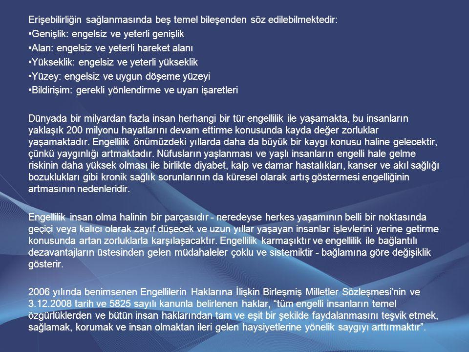 Erişebilirliğin sağlanmasında beş temel bileşenden söz edilebilmektedir: