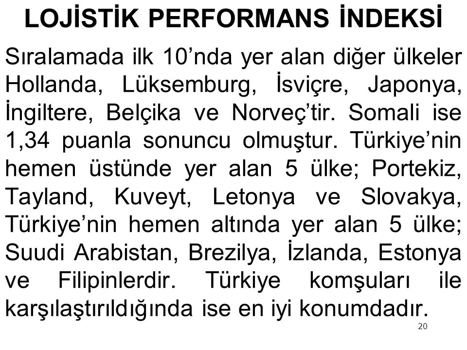LOJİSTİK PERFORMANS İNDEKSİ