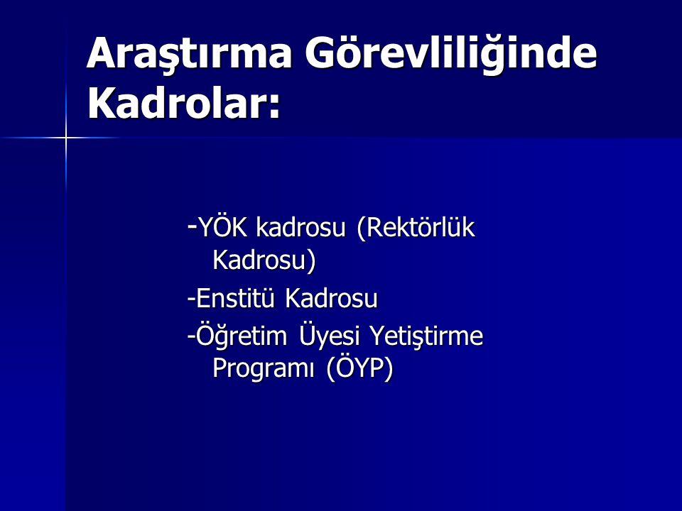Araştırma Görevliliğinde Kadrolar: