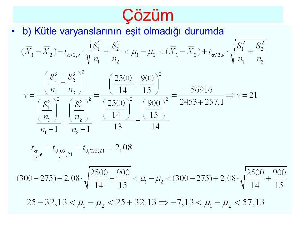 Çözüm b) Kütle varyanslarının eşit olmadığı durumda