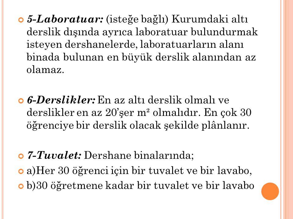 5-Laboratuar: (isteğe bağlı) Kurumdaki altı derslik dışında ayrıca laboratuar bulundurmak isteyen dershanelerde, laboratuarların alanı binada bulunan en büyük derslik alanından az olamaz.