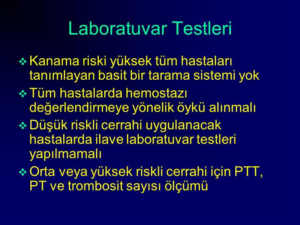 Laboratuvar Testleri Kanama riski yüksek tüm hastaları tanımlayan basit bir tarama sistemi yok.