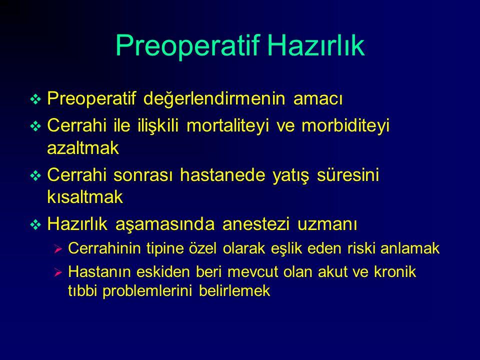 Preoperatif Hazırlık Preoperatif değerlendirmenin amacı