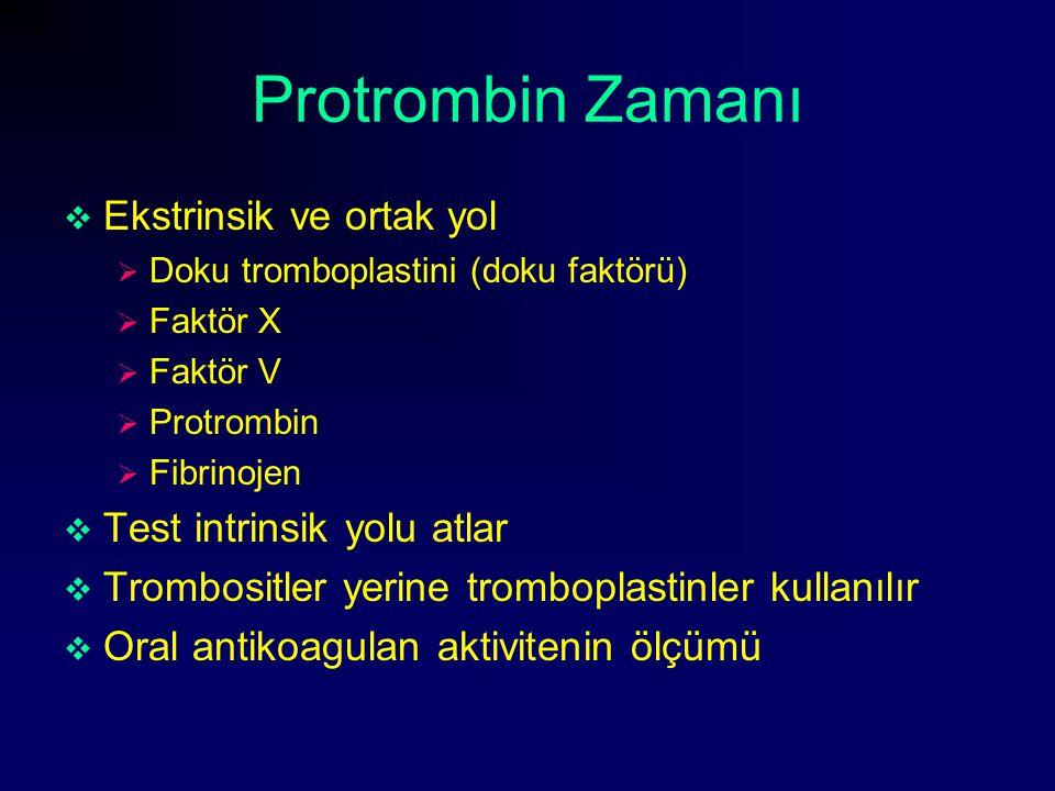Protrombin Zamanı Ekstrinsik ve ortak yol Test intrinsik yolu atlar