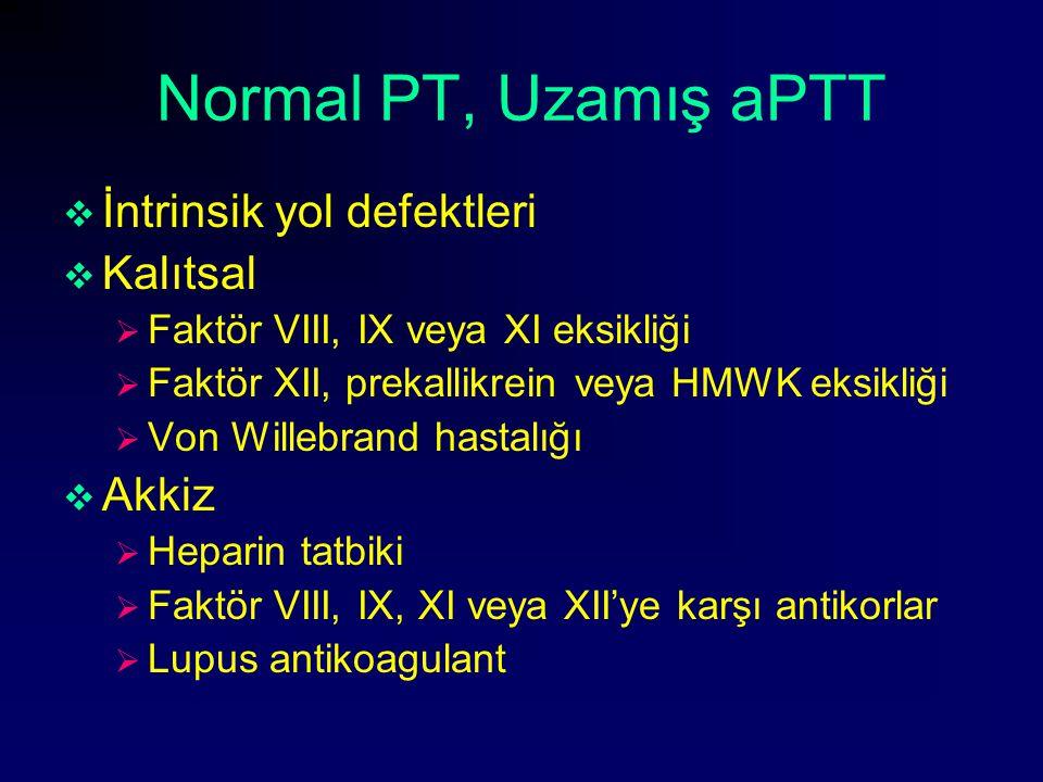Normal PT, Uzamış aPTT İntrinsik yol defektleri Kalıtsal Akkiz