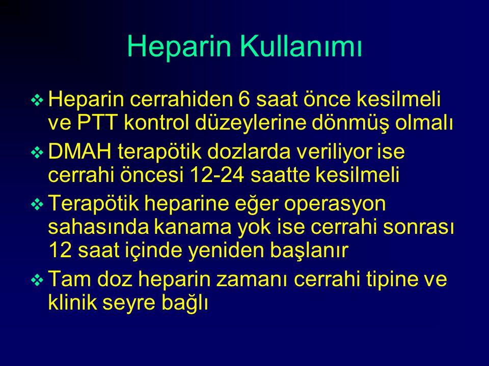 Heparin Kullanımı Heparin cerrahiden 6 saat önce kesilmeli ve PTT kontrol düzeylerine dönmüş olmalı.
