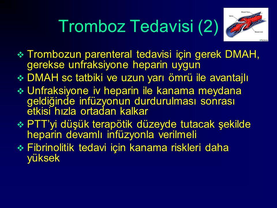 Tromboz Tedavisi (2) Trombozun parenteral tedavisi için gerek DMAH, gerekse unfraksiyone heparin uygun.