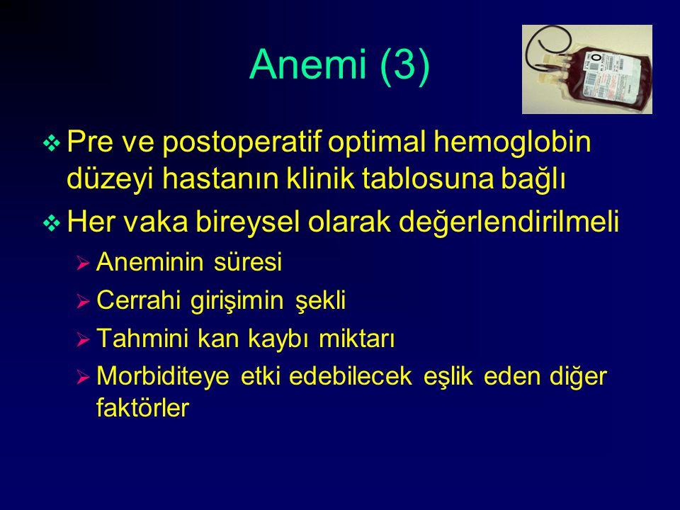 Anemi (3) Pre ve postoperatif optimal hemoglobin düzeyi hastanın klinik tablosuna bağlı. Her vaka bireysel olarak değerlendirilmeli.