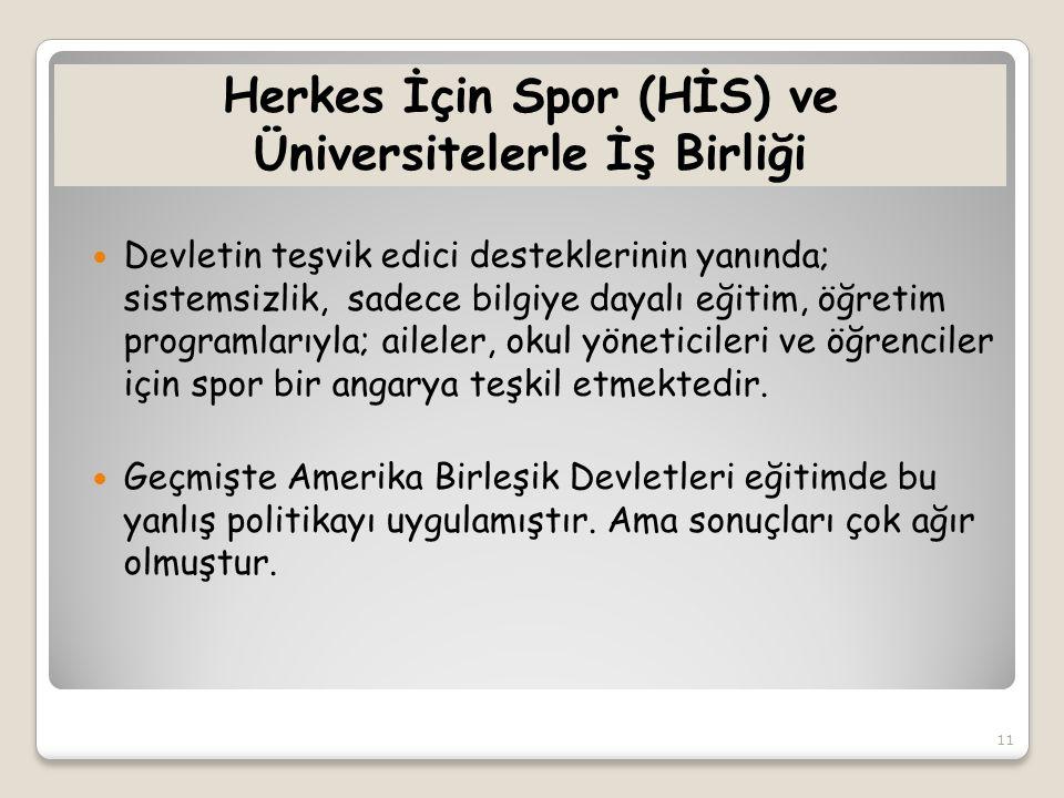 Herkes İçin Spor (HİS) ve Üniversitelerle İş Birliği