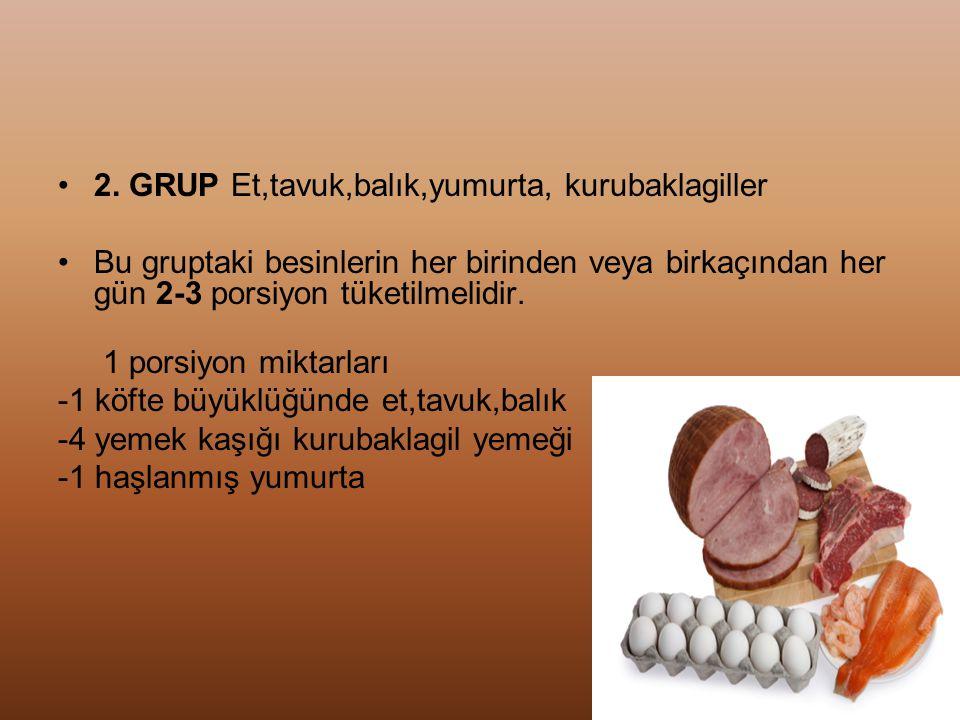 2. GRUP Et,tavuk,balık,yumurta, kurubaklagiller
