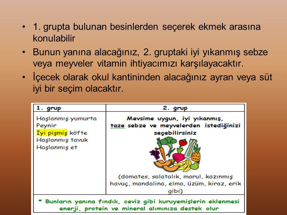 1. grupta bulunan besinlerden seçerek ekmek arasına konulabilir