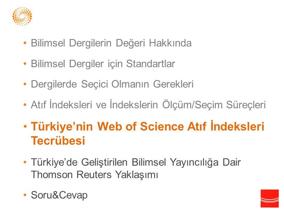Türkiye'nin Web of Science Atıf İndeksleri Tecrübesi