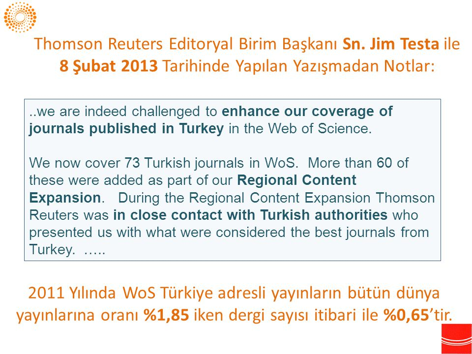 Thomson Reuters Editoryal Birim Başkanı Sn