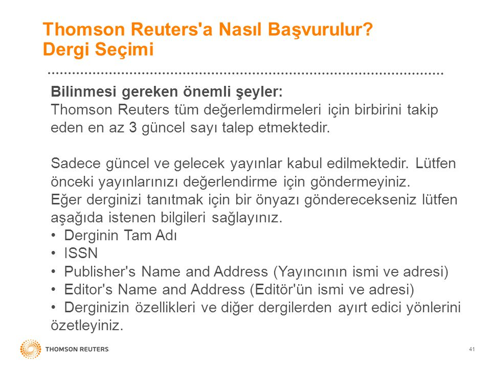 Thomson Reuters a Nasıl Başvurulur Dergi Seçimi