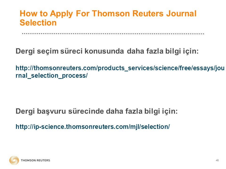 How to Apply For Thomson Reuters Journal Selection