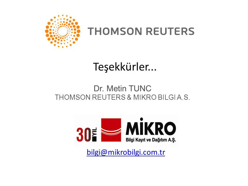 THOMSON REUTERS & MIKRO BILGI A.S.