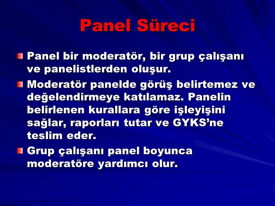 Panel Süreci Panel bir moderatör, bir grup çalışanı ve panelistlerden oluşur.