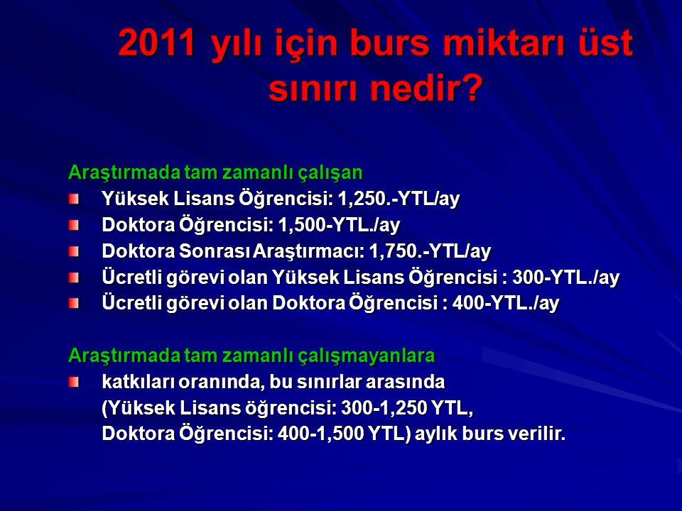 2011 yılı için burs miktarı üst sınırı nedir
