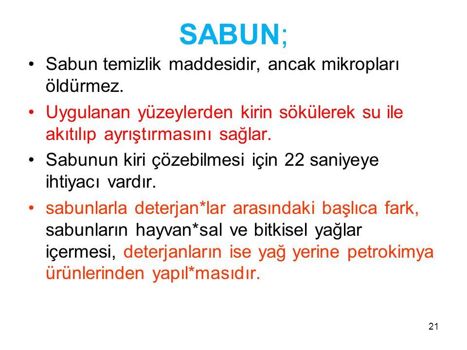 SABUN; Sabun temizlik maddesidir, ancak mikropları öldürmez.