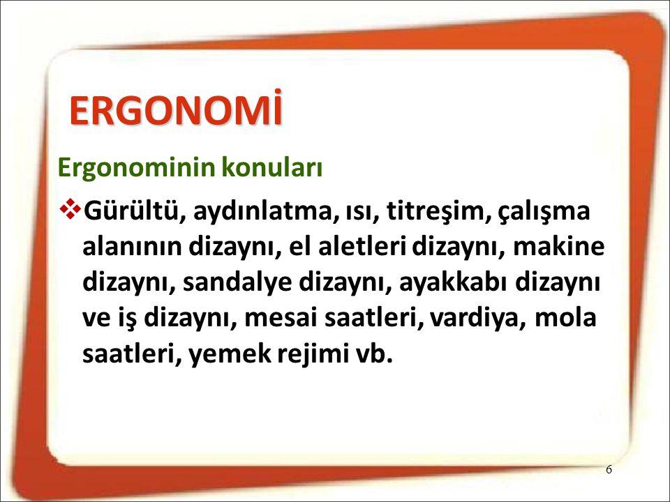 ERGONOMİ Ergonominin konuları