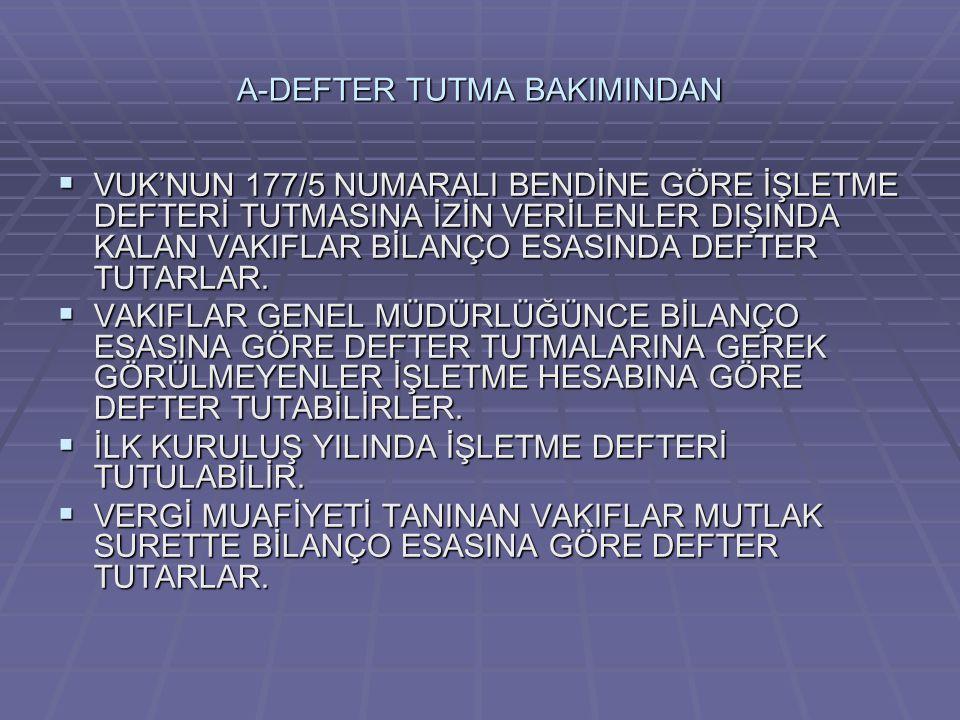 A-DEFTER TUTMA BAKIMINDAN