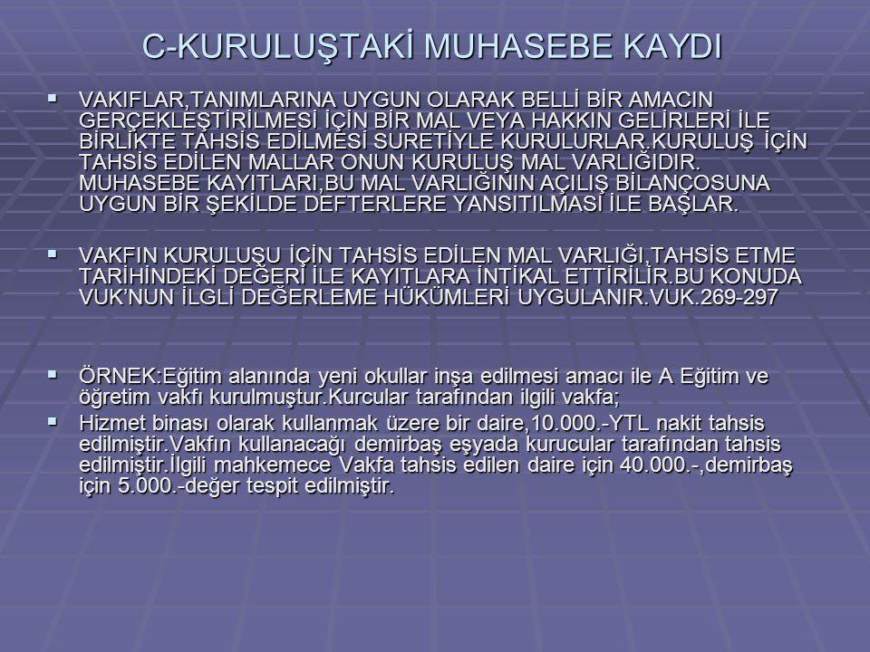 C-KURULUŞTAKİ MUHASEBE KAYDI