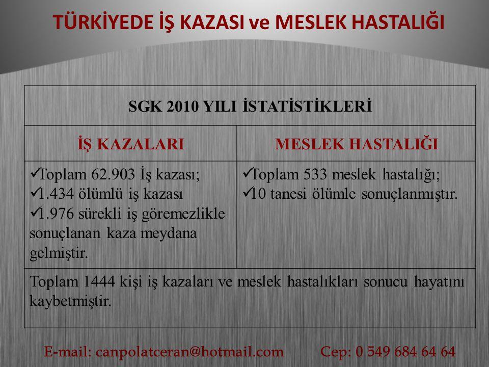 TÜRKİYEDE İŞ KAZASI ve MESLEK HASTALIĞI