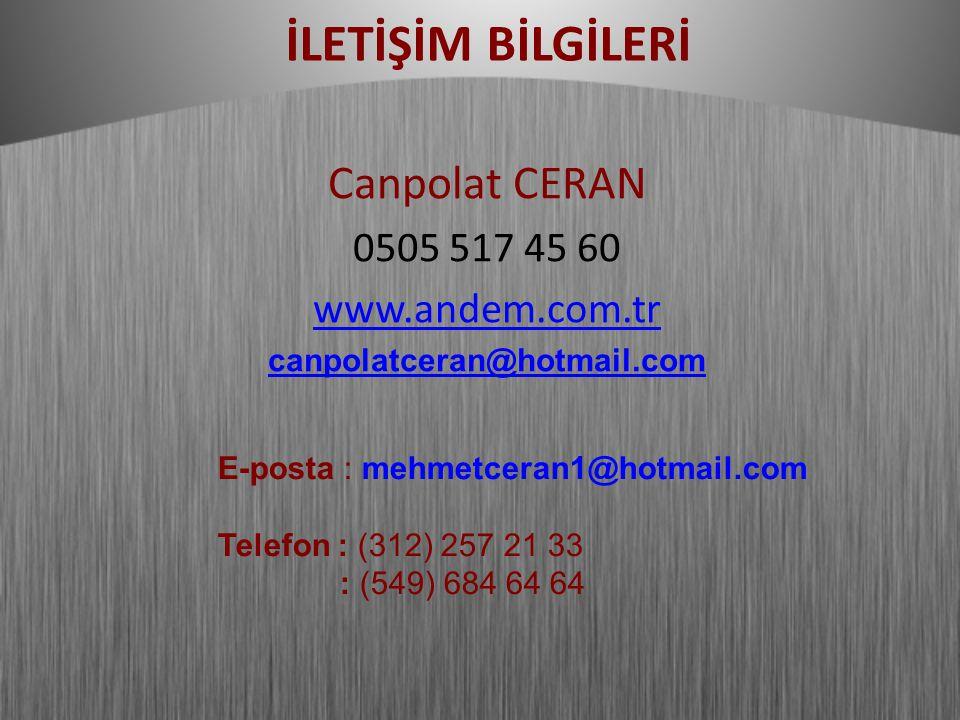 İLETİŞİM BİLGİLERİ Canpolat CERAN 0505 517 45 60 www.andem.com.tr