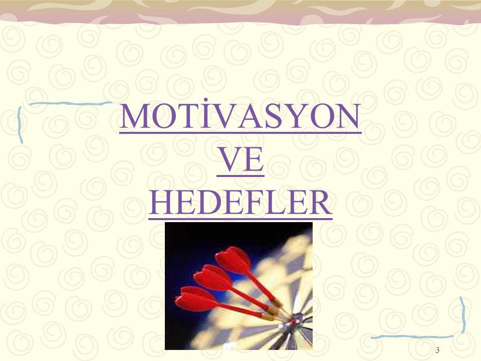 MOTİVASYON VE HEDEFLER