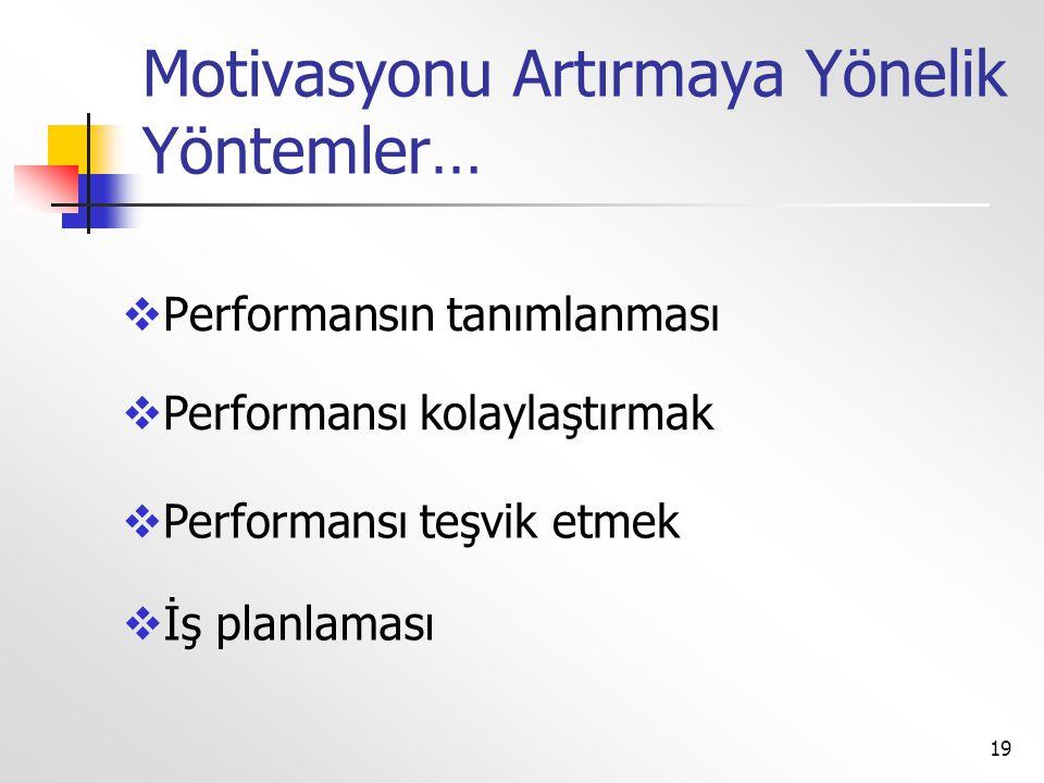 Motivasyonu Artırmaya Yönelik Yöntemler…