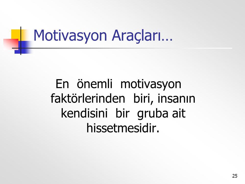 Motivasyon Araçları… En önemli motivasyon faktörlerinden biri, insanın kendisini bir gruba ait hissetmesidir.