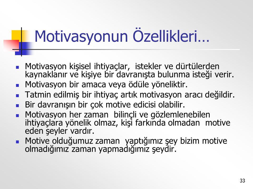 Motivasyonun Özellikleri…