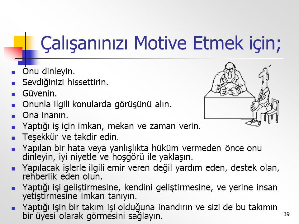 Çalışanınızı Motive Etmek için;