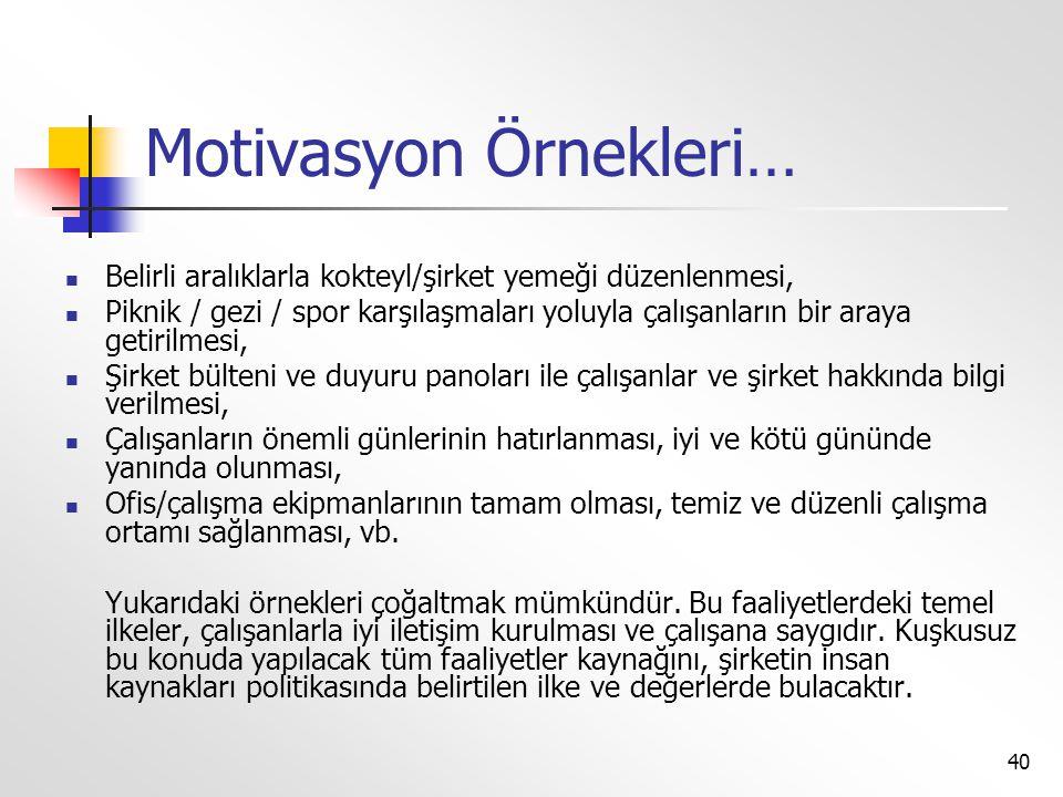 Motivasyon Örnekleri…