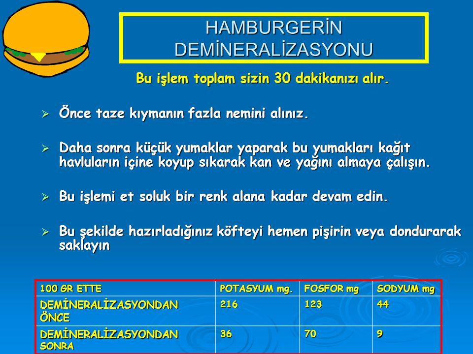 HAMBURGERİN DEMİNERALİZASYONU