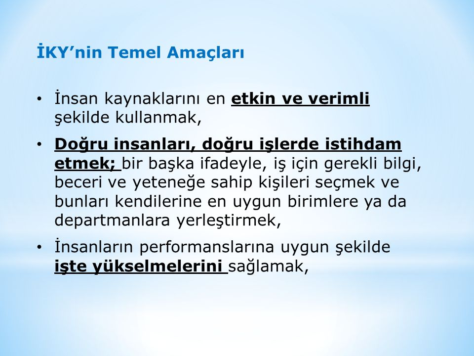 İKY'nin Temel Amaçları