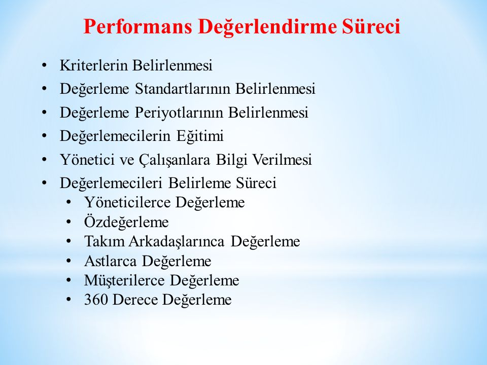Performans Değerlendirme Süreci